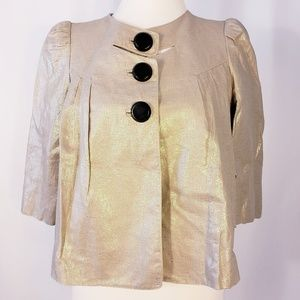 Robert Rodriguez Cropped Metallic Cape Jacket